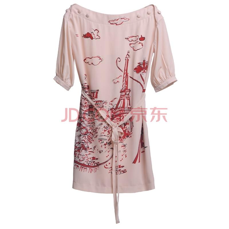 浪漫铁塔手绘图案一字领灯笼袖腰带连衣裙