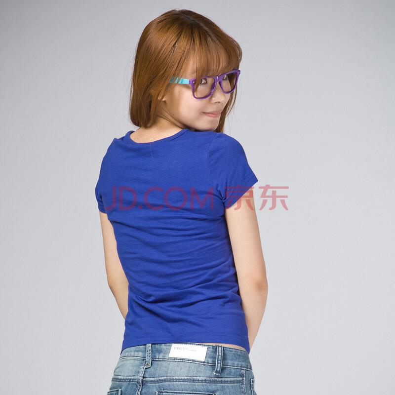 森马女款短袖t恤002140065 蓝色 s图片
