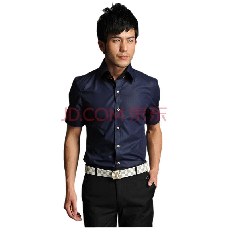 hy韩版男士经典夏季短袖衬衫休闲商务职业正装纯色