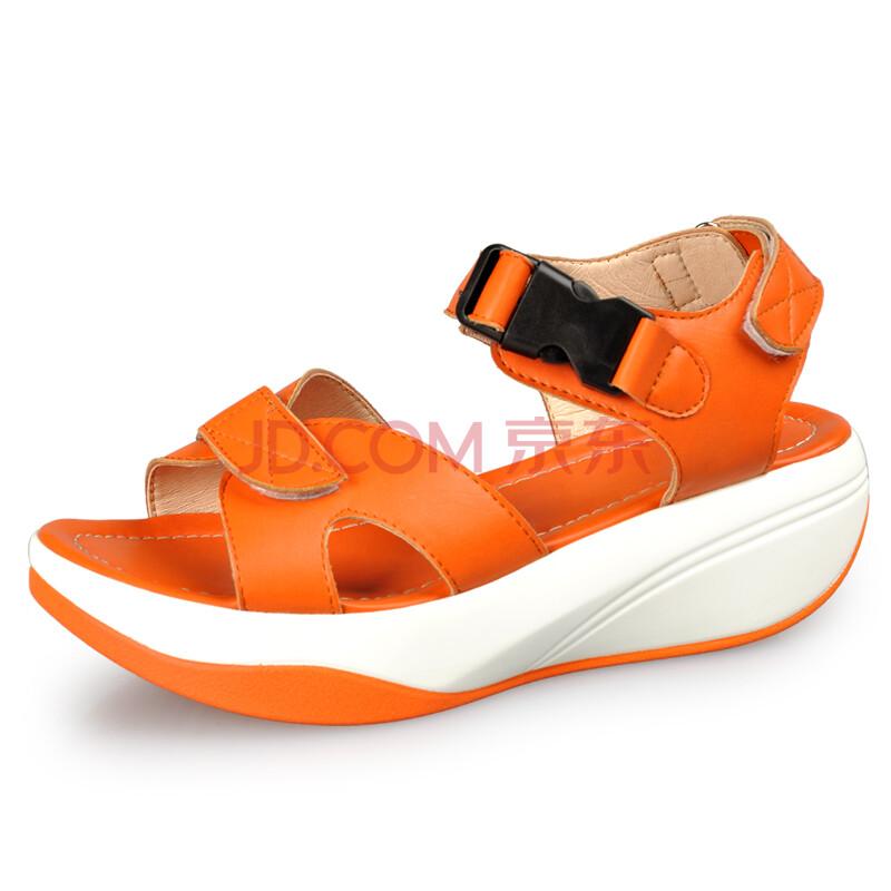 夏潮新品松糕厚底鞋 时尚纹漆皮女凉鞋