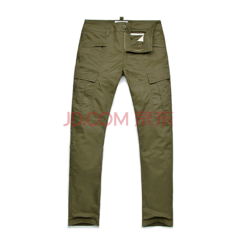 2新款夏裤 男卡其色裤子 男式多口袋中腰直筒工装裤韩版