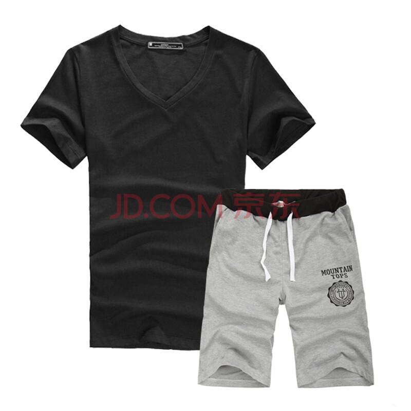 男士韩版修身t恤搭配休闲运动短裤