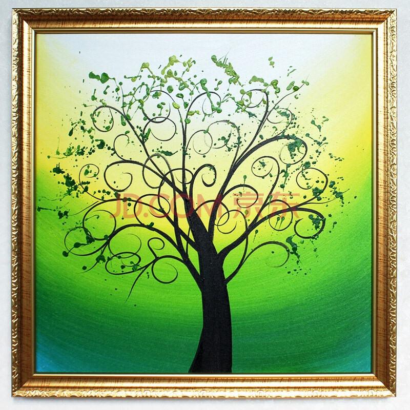 树抽象画-格丽油画 树之 绿 调装饰抽