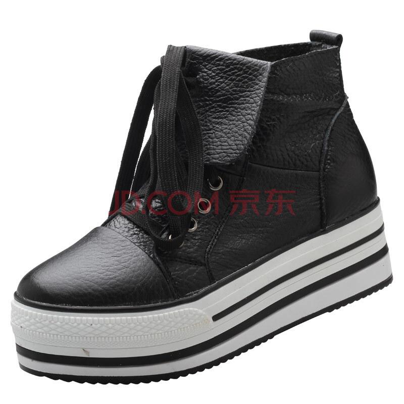 高尼女士纯皮松糕鞋 女式黑色款