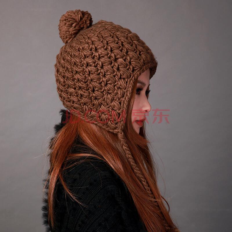 deniso秋冬女士户外保暖手工毛线编织帽护耳针织帽子ds-1127 咖啡色