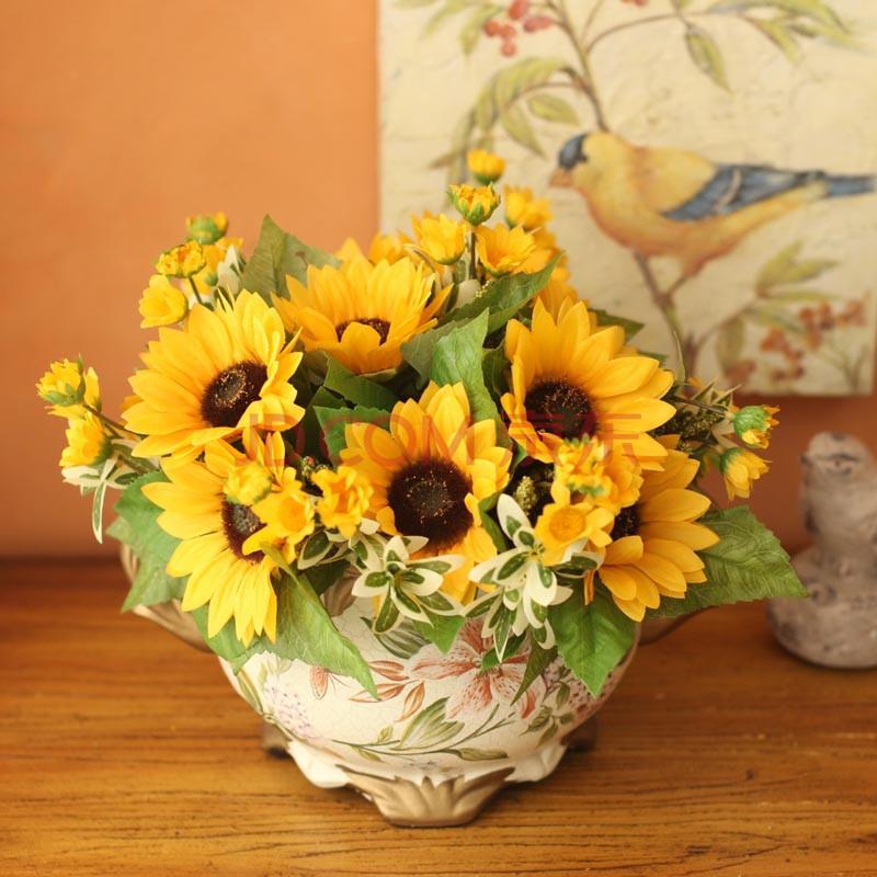 梵高向日葵仿真花套装 客厅装饰花艺花瓶假花 餐桌干花卉绢花艺 欧式