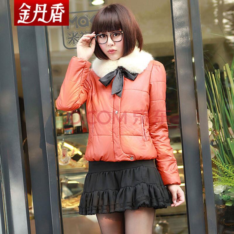 金丹香2012冬新款加厚外套棉服棉衣女 毛领韩版常规款棉衣dm2016 黄色
