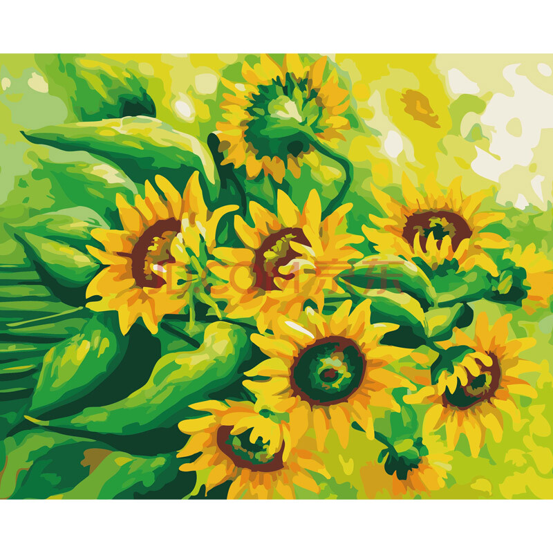 绑好实木内框 手绘向日葵