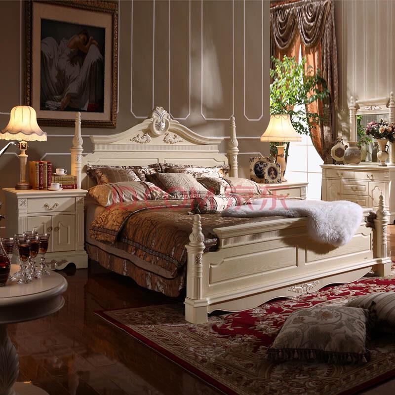 欧式木纹 特价欧式双人床 头柜家具组合公主 法式田园