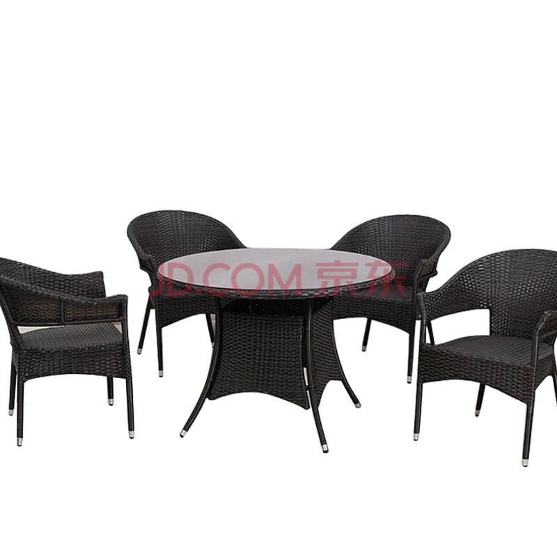 紫灿 户外家具 藤编桌椅 威尼斯黑色编藤圆桌椅五件套
