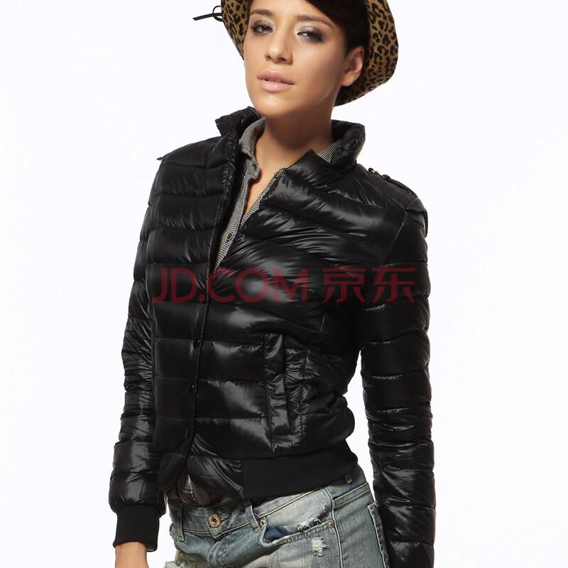 波司登2012视觉新款女款淑女秋冬轻薄短款羽绒服#b12056b时尚160上海检测设备黑色图片