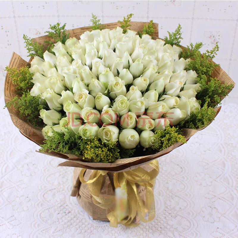 鲜花速递 99朵白玫瑰花束 鲜花快递生日 全国送花 爱情鲜花 高端大气图片