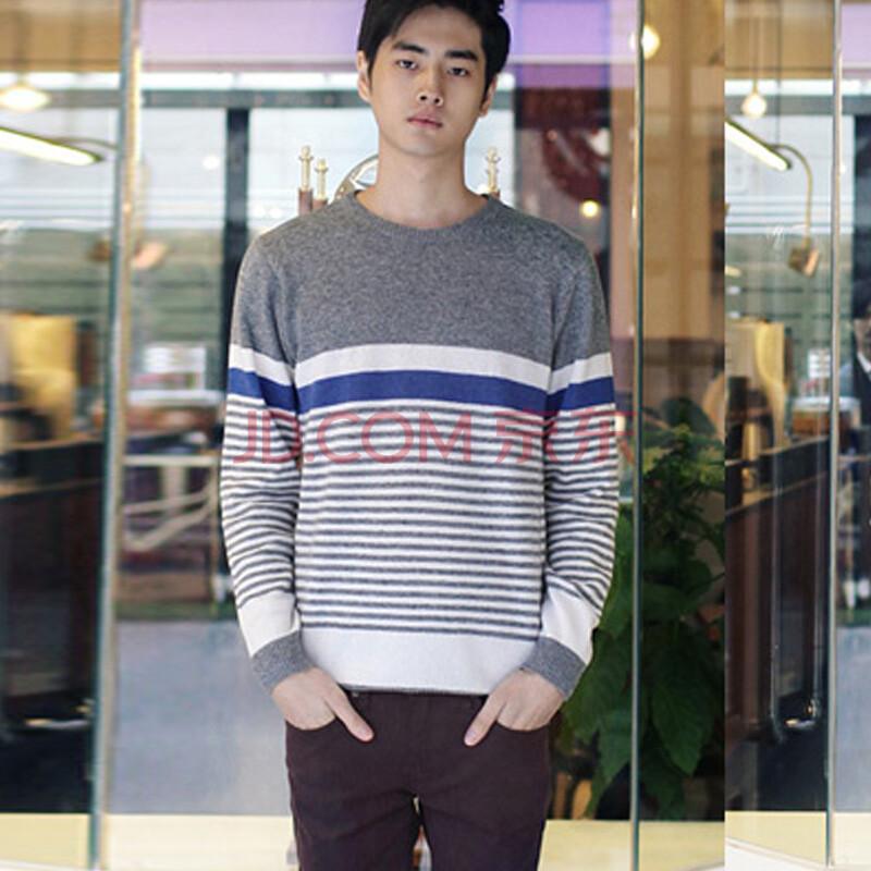 时尚起义 韩国简单条纹图案配色针织衫 男611958 灰色