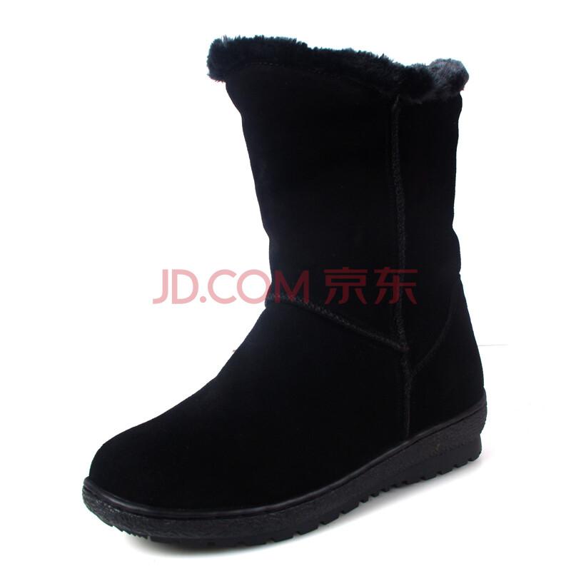 渔歌新品冬季女短靴厚底防水雪地靴保暖女棉靴子女