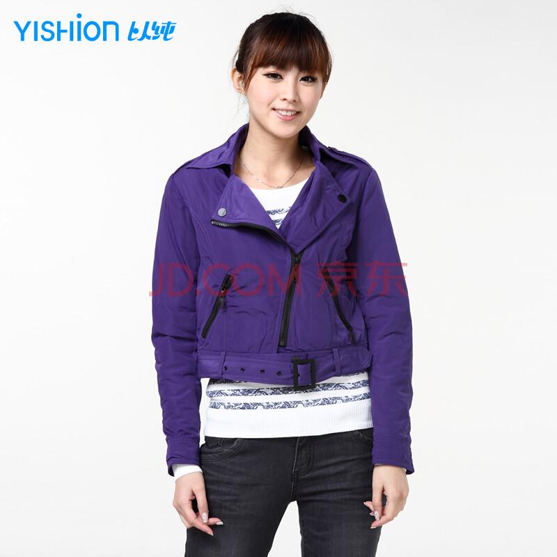 以纯��dh_以纯yishion 女装休闲棉衣外套10321003 深紫 l