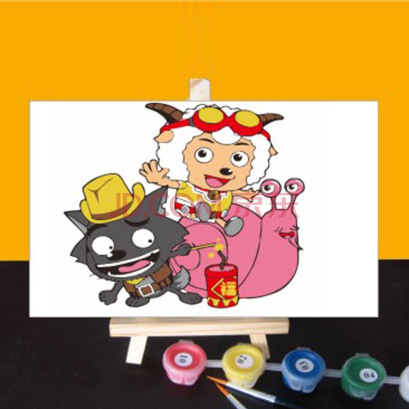 悠趣diy手绘数字油画 卡通小插画 喜羊羊与灰太狼 10x15cm 配小画架