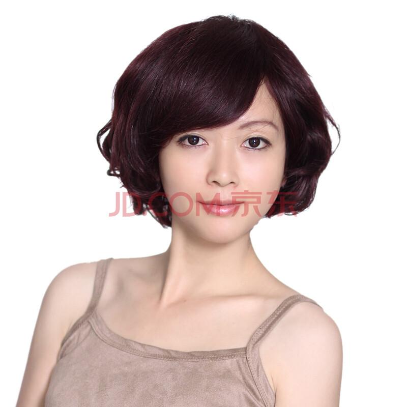 玫瑰雨 真发假发 假发女生短发 时尚可爱短卷发 头顶心手织深棕红色