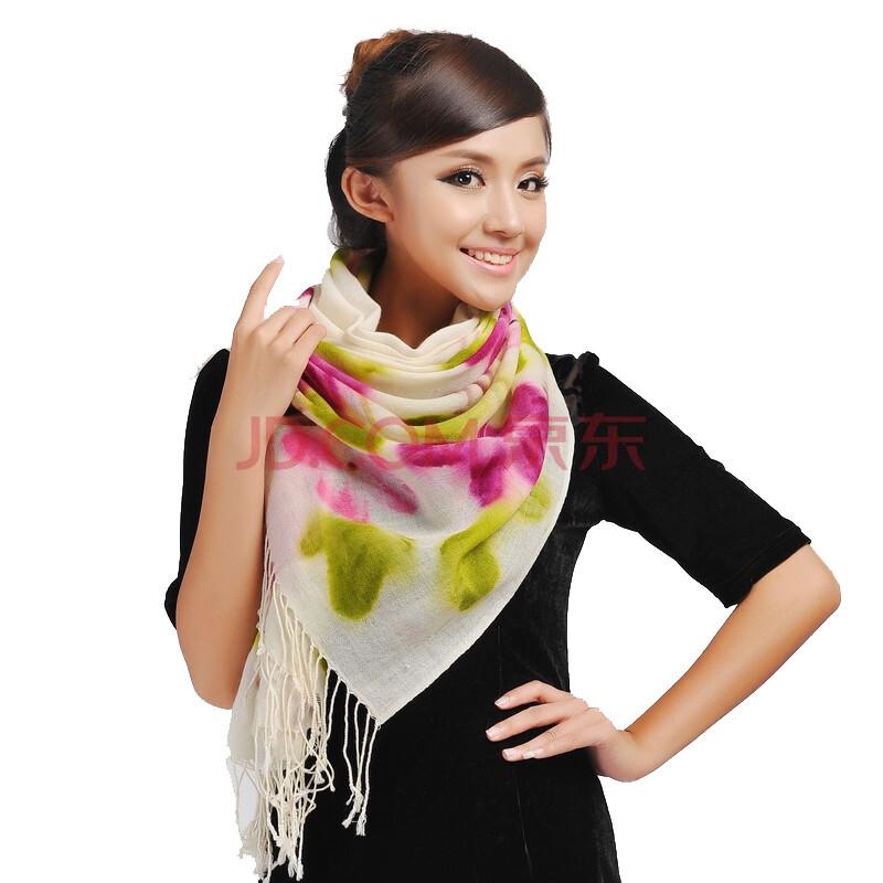 上海故事冬季女款时尚手绘牡丹羊毛围巾披肩166060