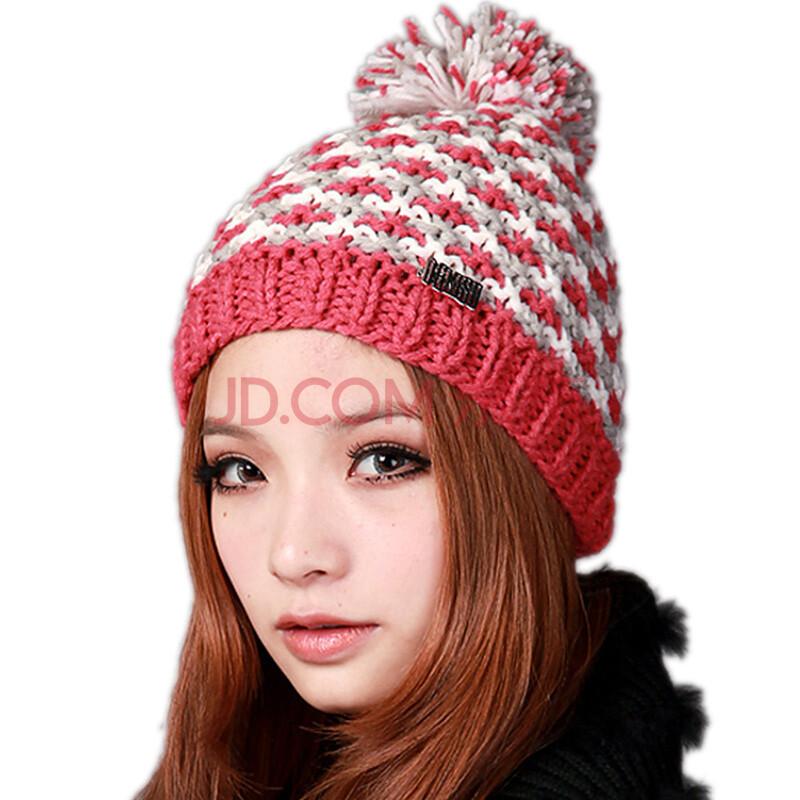deniso帽子秋冬女士女款手工编织帽针织帽 女帽ds-1195 西瓜红