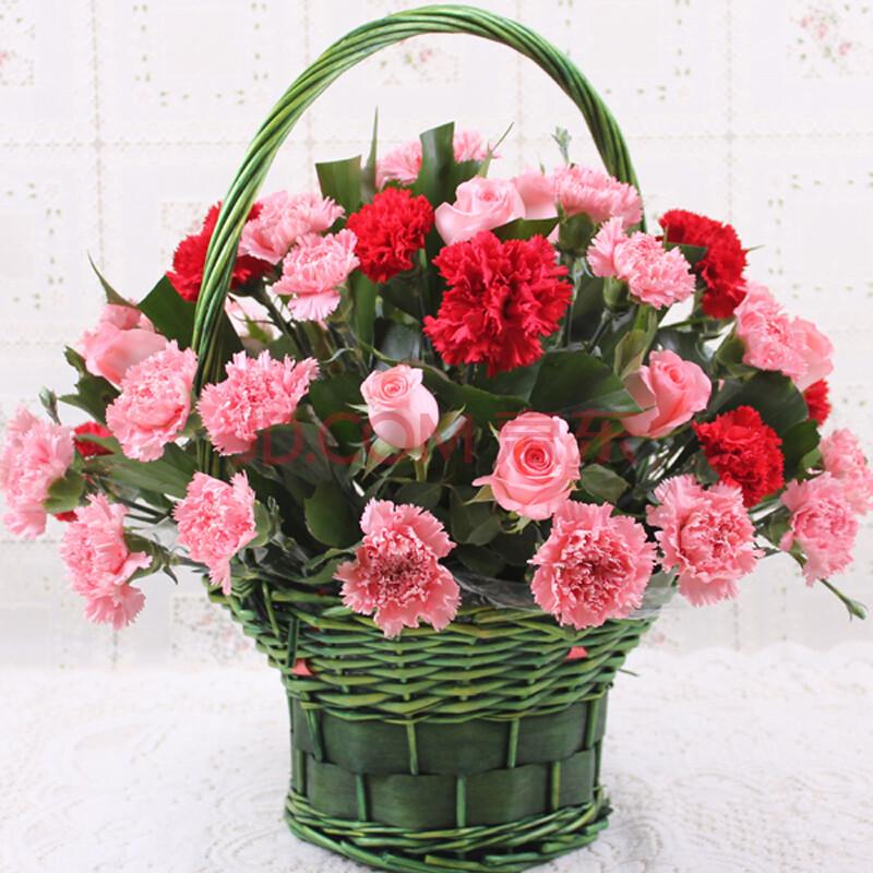 鲜花速递 康乃馨花篮 鲜花快递生日 全国送花 送父母 送长辈 高端大气图片