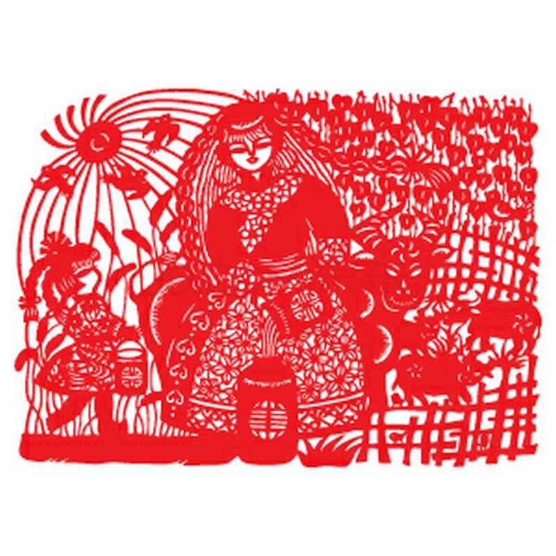 h3118大幅剪纸窗花装饰画创意马年春节对联福字贴纸-张贴的大幅