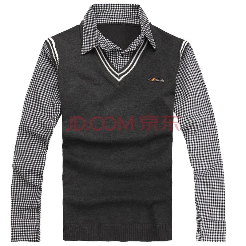 假两件男长袖_漫路2012秋冬新款 英伦衬衫领假两件毛衣男 男士长袖衬衫领毛衣1014