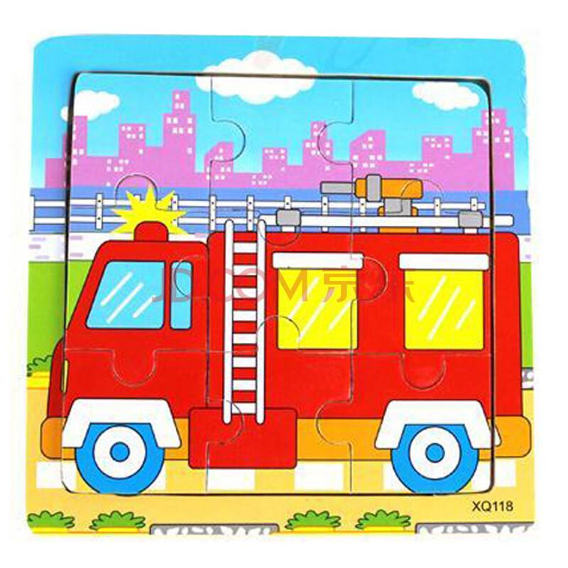 儿童消防车油画棒画