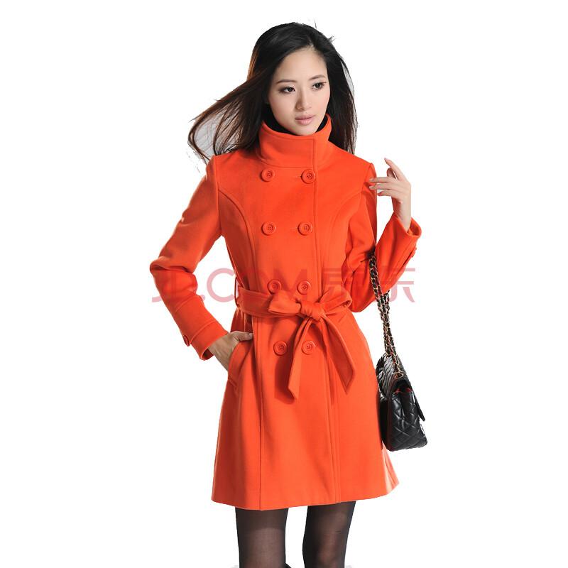 橘红色大衣搭配