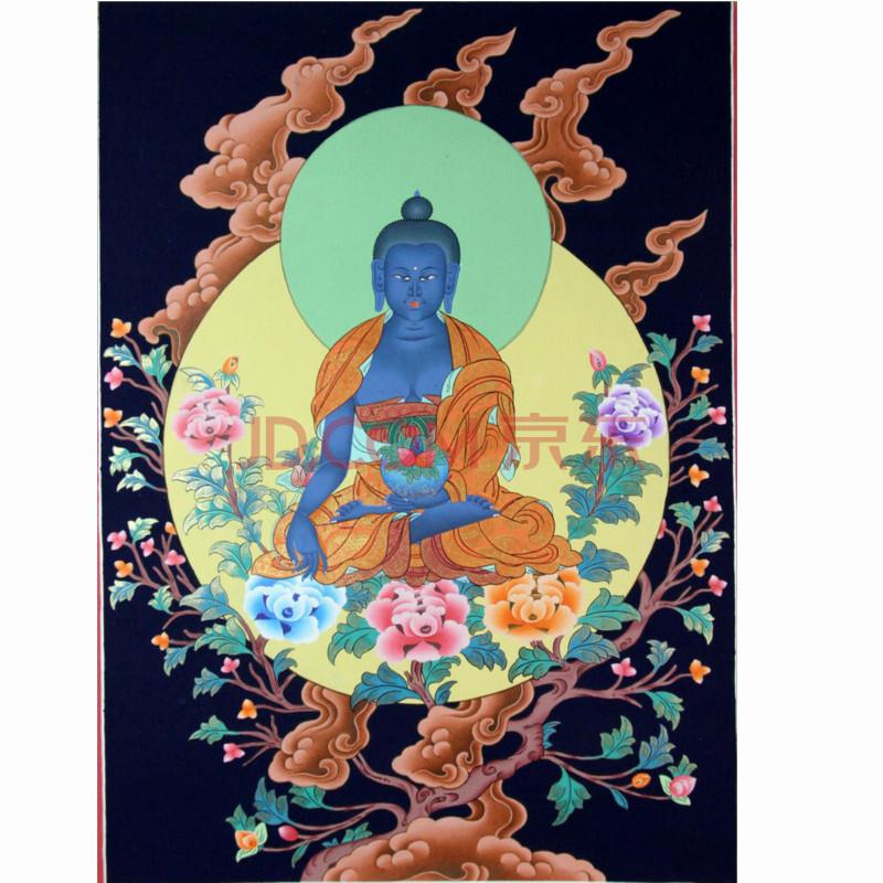西藏传统手绘堆砂唐卡 药师佛 21042