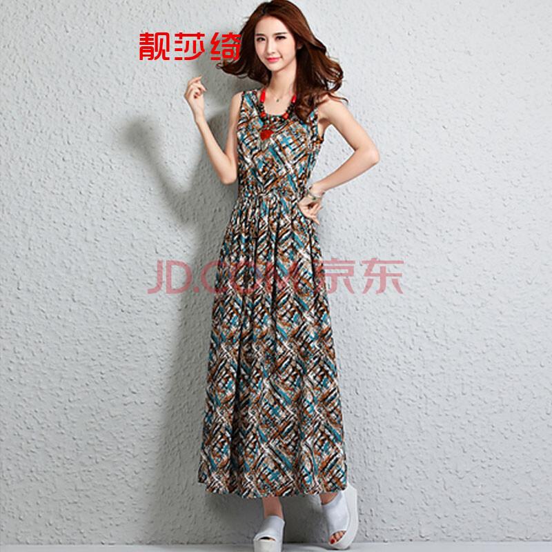 http://img.faxingw.cn/201503/xl3.jpg_2015年夏季新款时尚无袖印花女款波西米亚长裙连衣裙y1151 图片色 xl