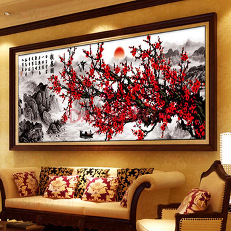 世轩正品十字绣成品客厅大画报春图梅花版电脑机绣成品非手工不带框1.