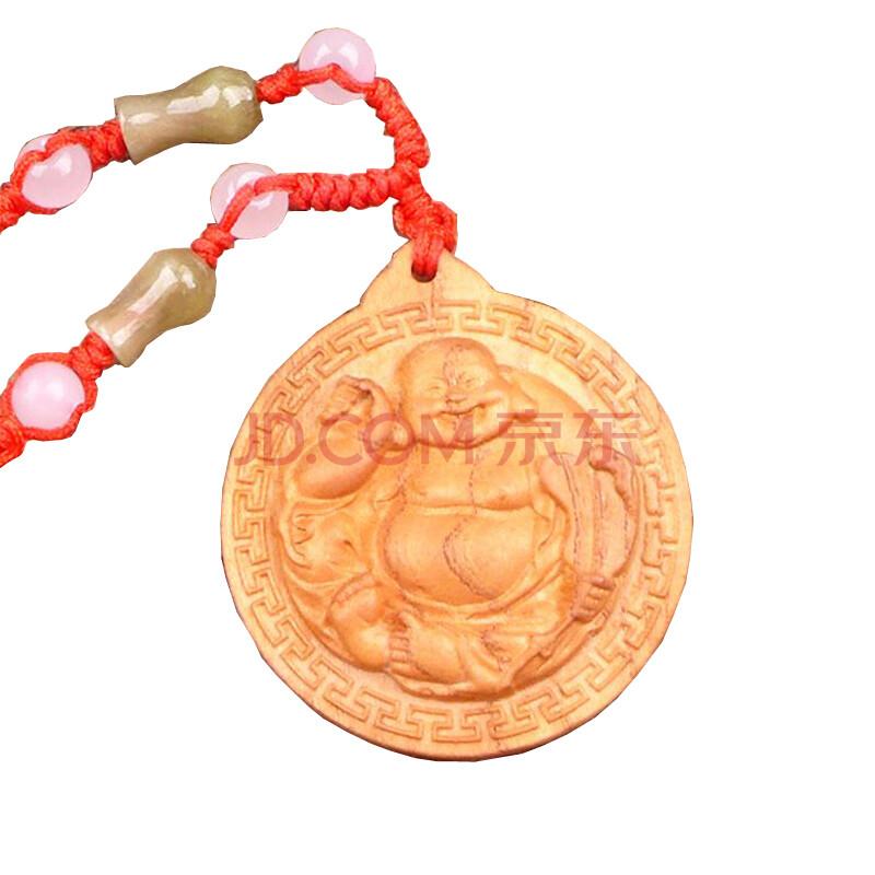 福缘阁 桃木佛头观音项链挂件 木雕饰品随身携带 2000072 佛2000086