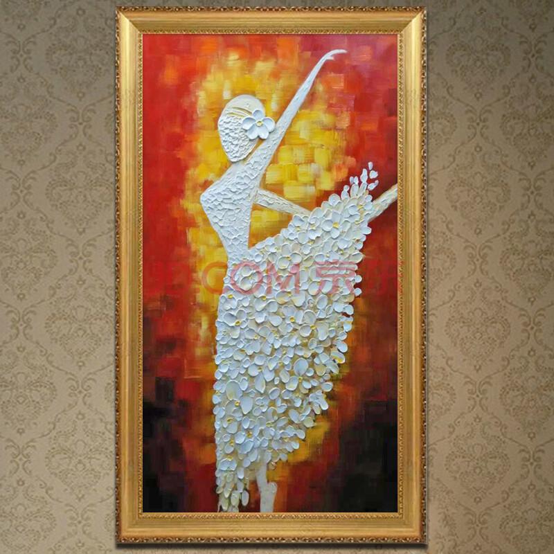 易美馨简欧式手绘油画厚油刀画抽象人物别墅客厅玄关过道竖版装饰画