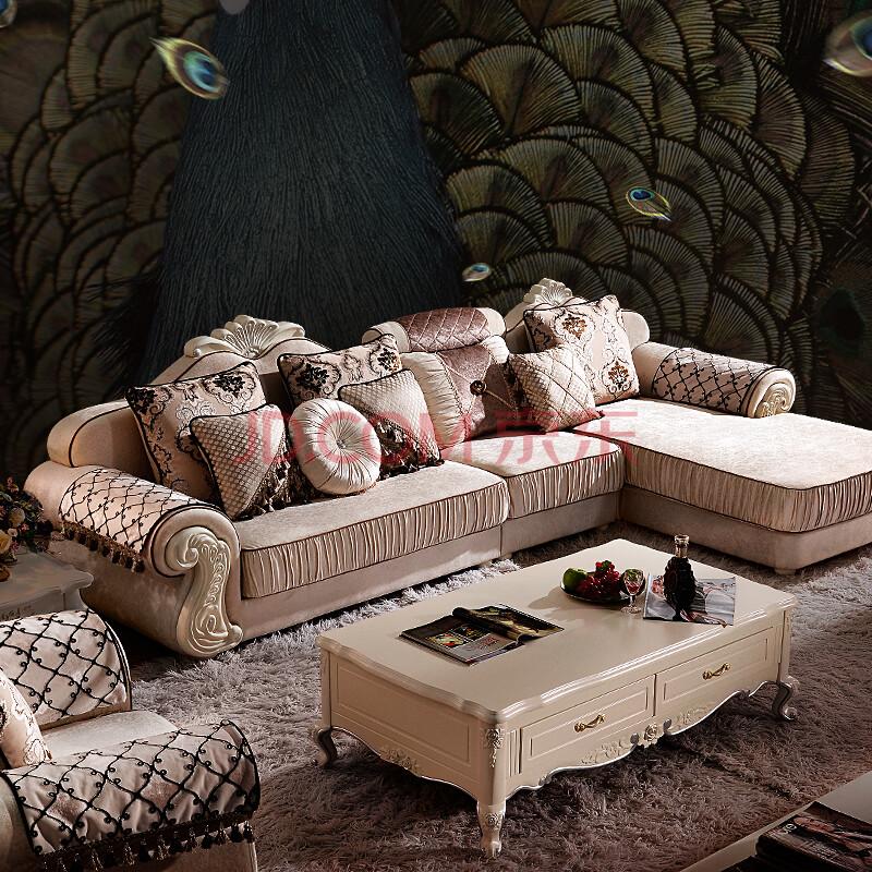 纯实木雕花欧式布艺沙发