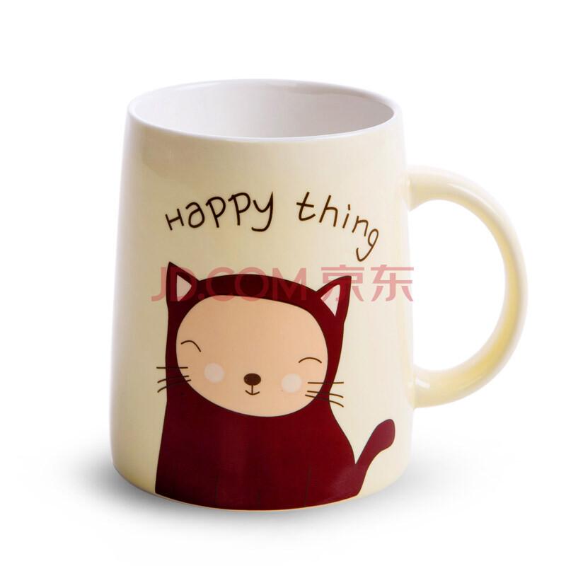 简家 可爱小动物情侣陶瓷杯子 创意马克杯早餐杯牛奶杯水杯k5278 咖啡