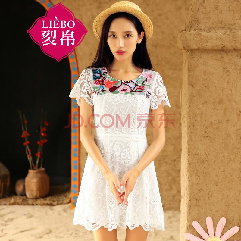 裂帛2015夏季新款 刺绣蕾丝裙子 短袖雪纺连衣裙 女51140710 白色 l