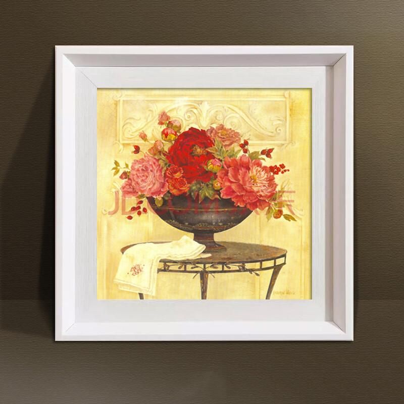 画透明花有框画卧室餐厅挂画壁画现代油画简约 yk-0109 a2白色边框 35