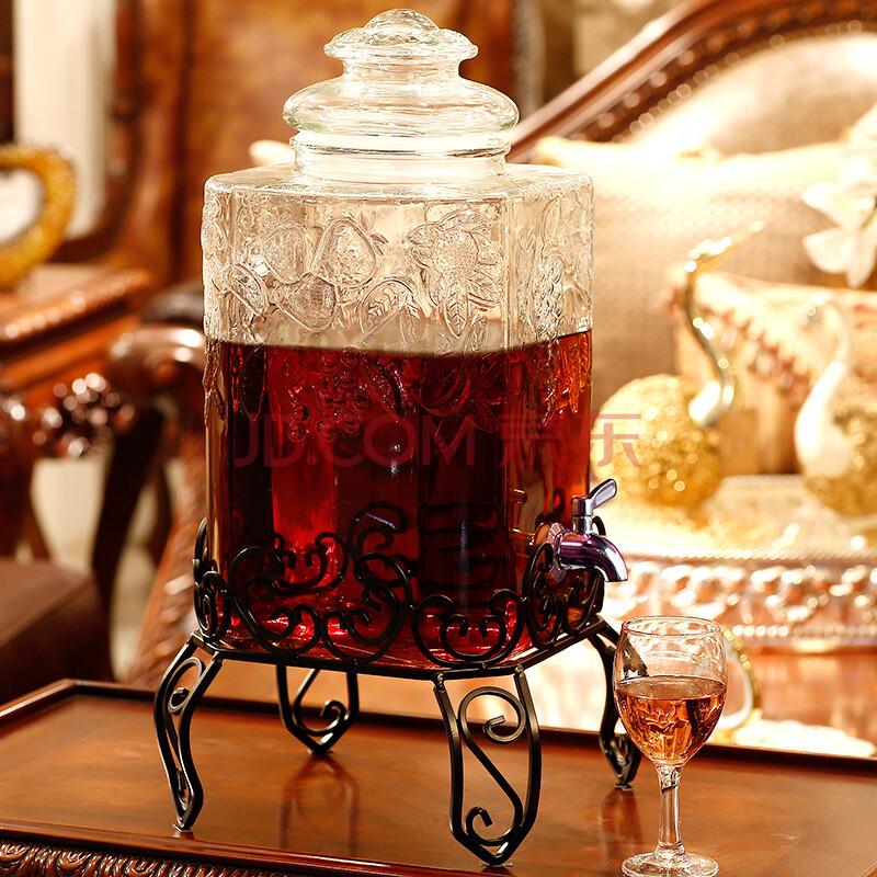 宏达 泡酒瓶带龙头无铅酿酒玻璃瓶 加厚酵素桶药酒坛子密封罐水果花图片
