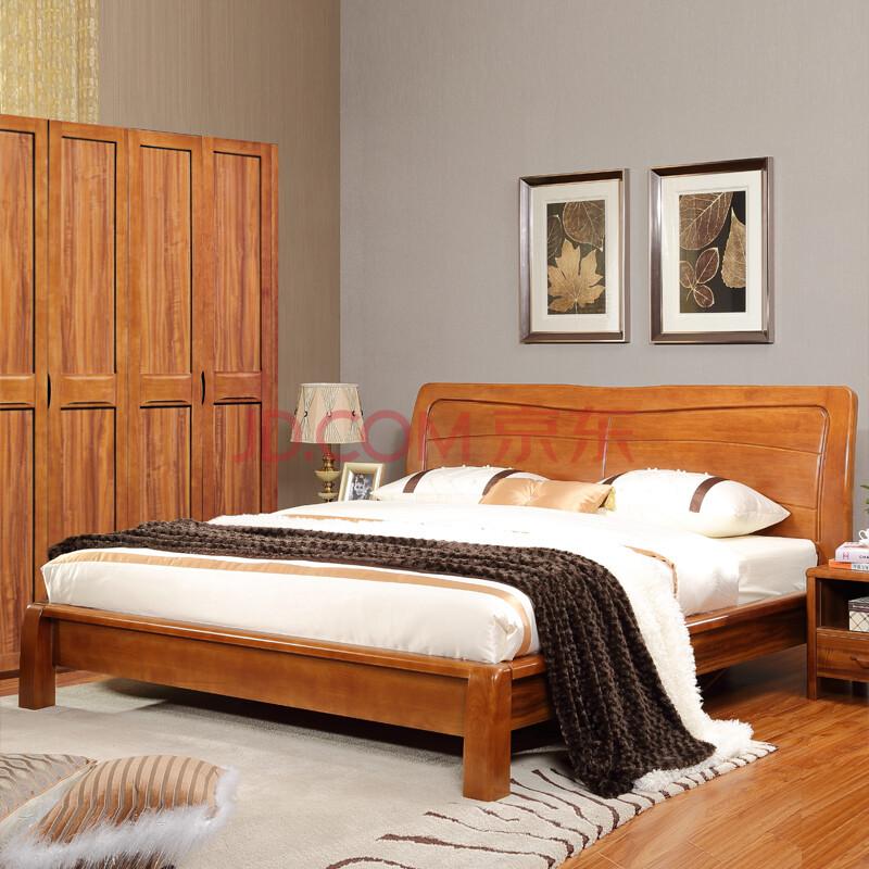 虾米家具 新中式实木双人床硬板床橡木高箱床1.5米/1.图片