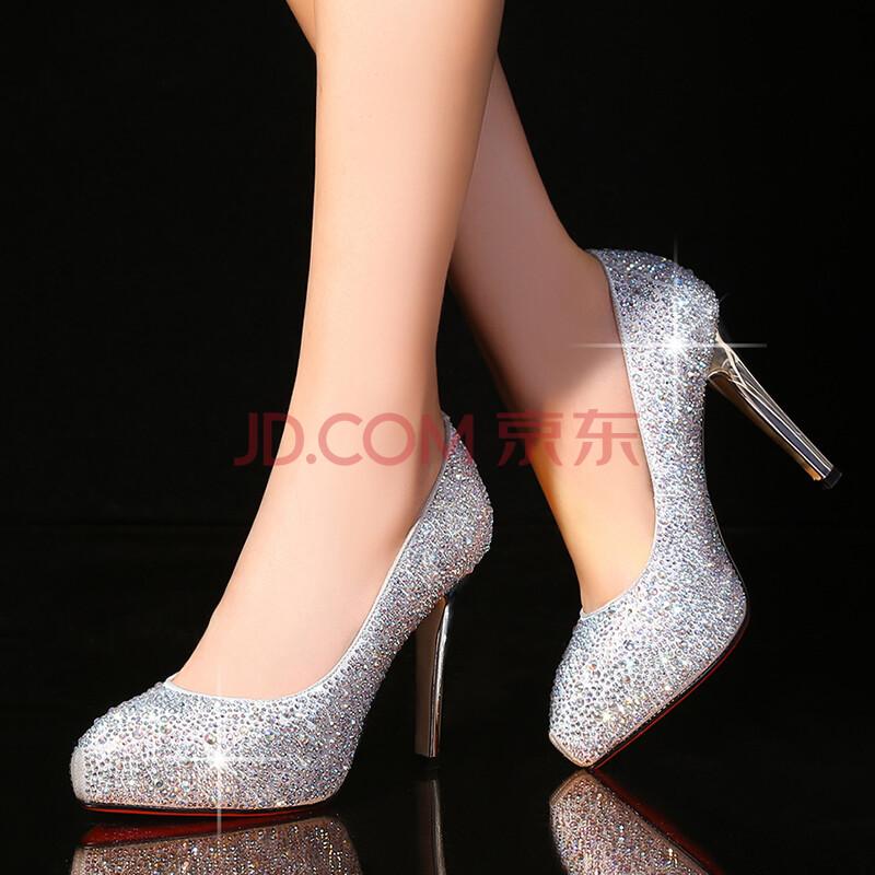 2015新款女鞋真皮水晶高跟鞋细跟水钻新娘鞋婚鞋防水台内增高单鞋女士