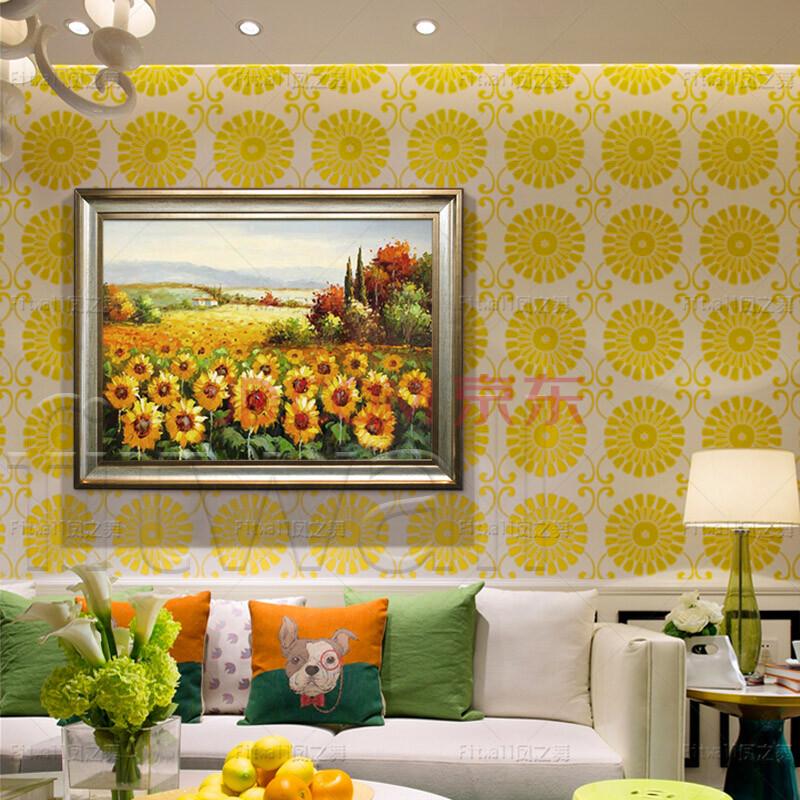 关有框画厚油向日葵油画
