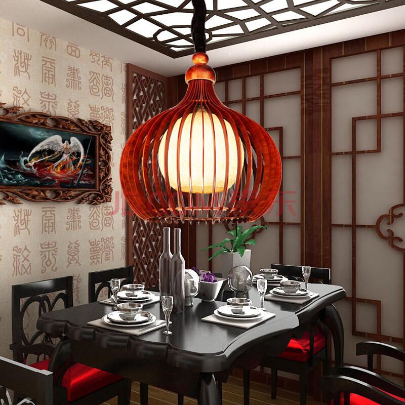 牧羊人新中式吊灯书房新古典茶室圆形创意花梨木古香古色餐厅灯休闲图片