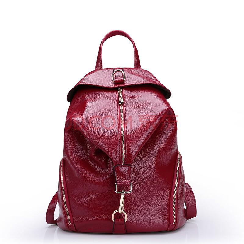 黛莱雅2015真皮女包韩版时尚牛皮背包单肩新款双肩包女包0595 酒红色图片