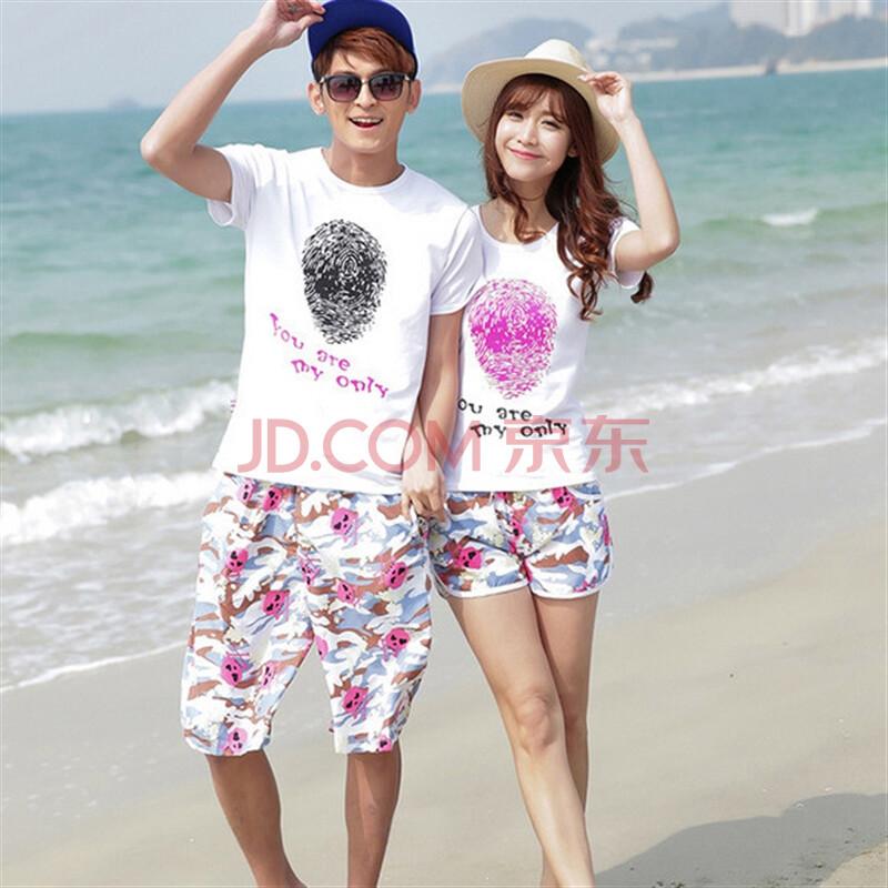 装新款夏装度假旅游海边情侣套装纯棉t沙滩裤 迷彩骷髅 男xxl衣 xxl裤