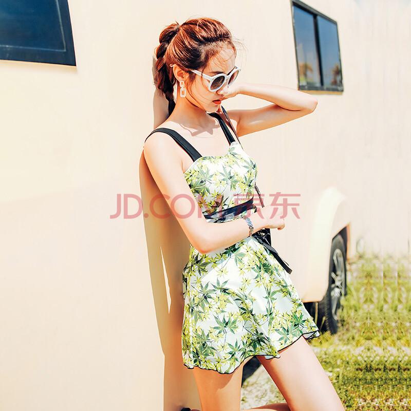 玲睿儿(LINGRIVER) 韩国连体泳衣女比基尼裙式保守平角显瘦遮肚大小胸聚拢温泉游泳衣 绿色枫叶 L