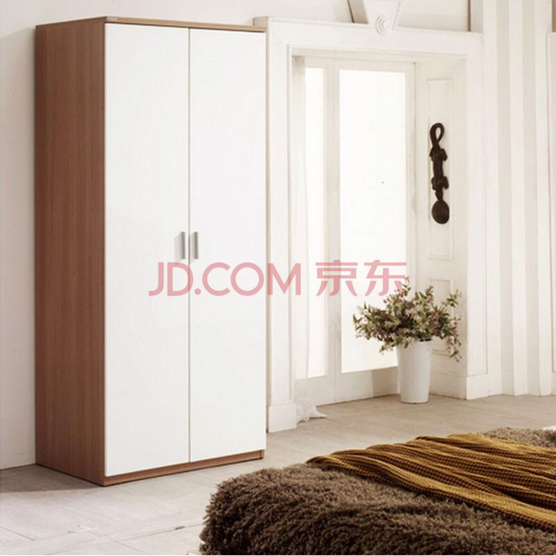 开门衣柜阳台衣柜现代板式衣柜可定制衣柜储物柜 浅胡桃色和浮雕白色
