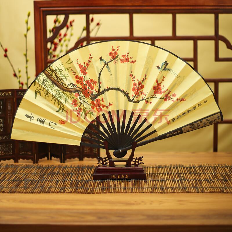 中国风男式绢扇古风扇子竹扇礼品中秋节礼物 喜盈门(雕刻)