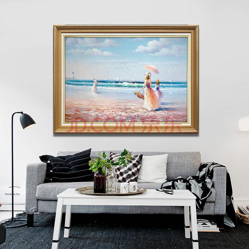 手绘欧式客厅油画装饰画 餐厅卧室挂画 玄关壁画 现代风景画 海边女孩