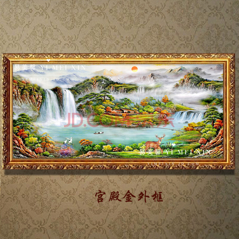 风水画 手绘风景山水油画客厅办公室酒店装饰画挂画壁画中式风格配画