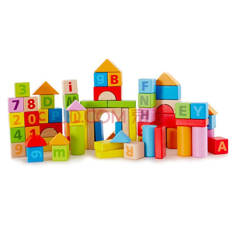 德国hape80粒拼装智力益智木制1~3岁玩具儿童玩具v智力积木宝宝inventor积木建模图片
